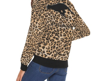 Women's Leopard Print Bomber Jacket