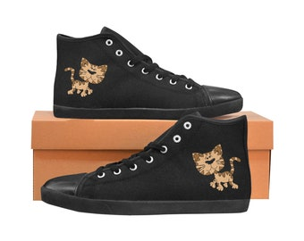Kid's Hi Top Canvas Sneakers Kitty