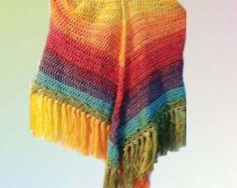 Crochet Rainbow Shawl Wrap