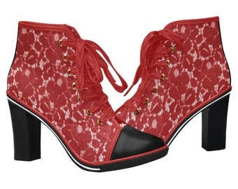Women's Chunky Heel Ankle Boots Red Lace