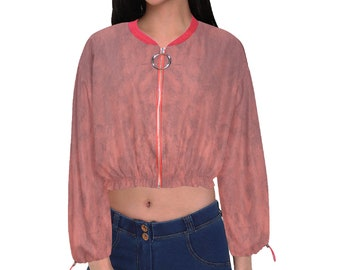 Women's Cropped Chiffon Jacket Red Wash
