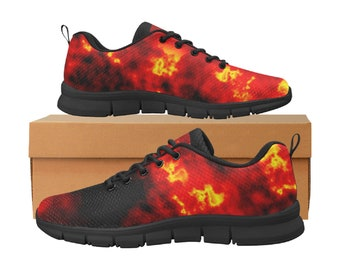Men's Breathable Running Shoes Fire Skull