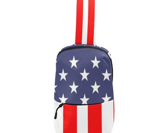 Crossbody Chest Bag American Flag Design