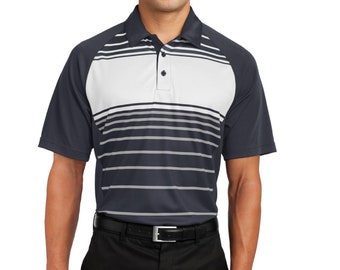 Men's Sport Tek Dry Zone Striped Polo