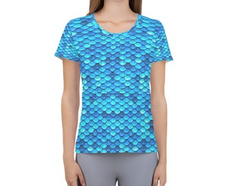 Women's Athletic T-shirt Blue Scales