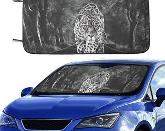 Car Sun Shade Black Leopard
