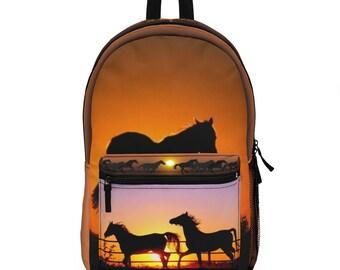Backpack Horses Sunset