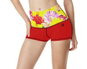 Women's Yoga Shorts Floral Waist