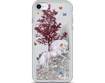 Liquid Glitter Phone Case White Horse