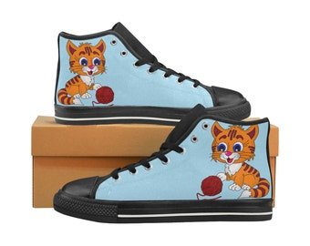 Kid's Canvas Hi Tops Cat and Yarn