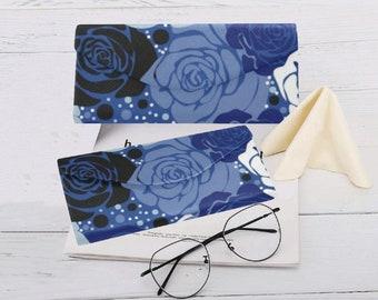Eyeglasses Foldable Custom Case Blue Floral