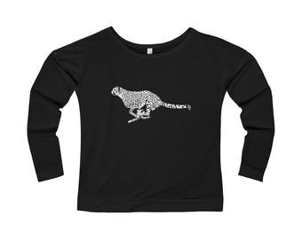 WomenS French Terry Long Sleeve Scoopneck Tee Cheetah