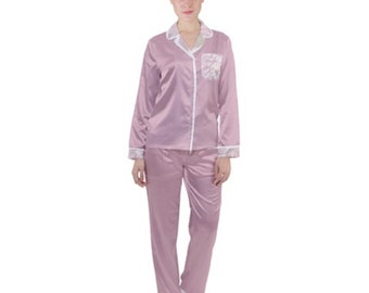 Women's Pink Rose Satin Pajamas