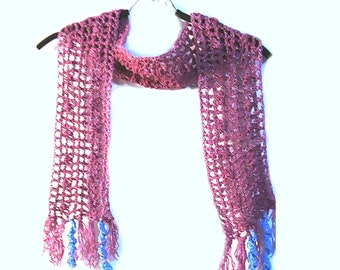 Crochet Pink With Blue Tassel Scarf