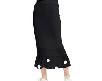 Women's Maxi Fishtail Skirt Black