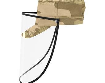 Military Cap With Face Shield Autumn Camo