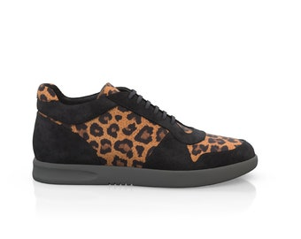 Men's Leather Casual Sneakers Leopard Print