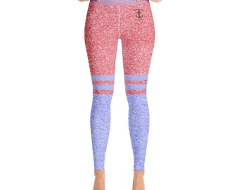 Yoga Leggings Heather Red and Blue