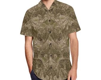 Men's Button Shirt Lapel Collar Camostone