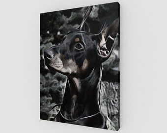 Doberman Canvas Wrapped Art Print