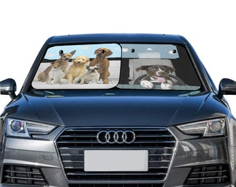 Car Sun Shade Two Pieces Dog Drive