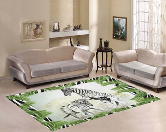 Fighting Zebras Area Rug