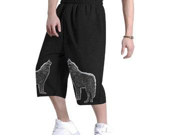 Men's Baggy Hip Hop Shorts Wolf