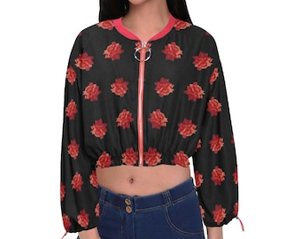 Women's Cropped Chiffon Jacket Red Rose