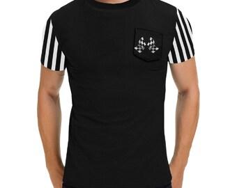 Men's Pocket T Shirt Black Race Flag