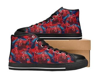 Kid's Cartoon Spiderman Hi Top Canvas Shoes