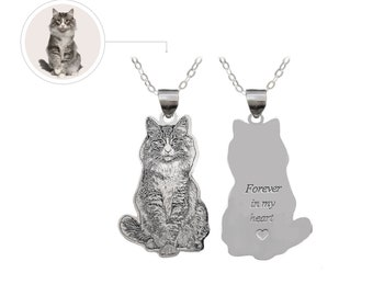 Sterling Silver Pet Photo Cut Engraved Necklace
