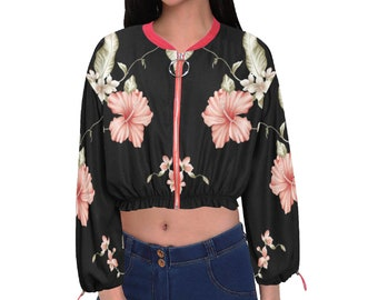 Women's Cropped Chiffon Jacket Floral