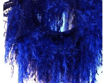 Blue Frill Shag Scarf