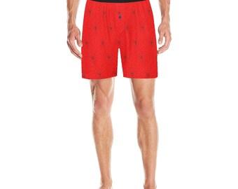Men's Pajama Shorts Red Web