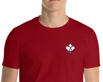 Short-Sleeve T-Shirt Maple Leaf Hockey Embroidery