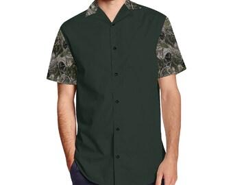 Men's Short Sleeve Lapel Collar Button Camouflage Forest Shirt