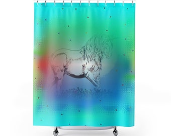 Shower Curtains Colorful Unicorn