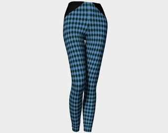 Blue Checkered Leggings