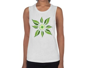 Ladies' Muscle Tank Leaf Flower