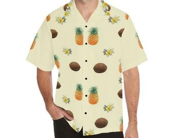 Men's Relaxed Fit Button Lapel Collar Tropical Shirt