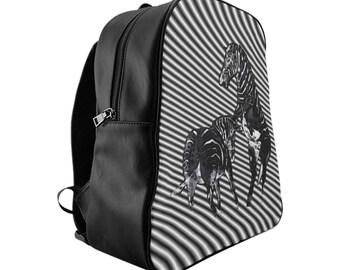 School Backpack Fighting Zebras