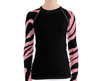Women's Rash Guard Pink Tiger