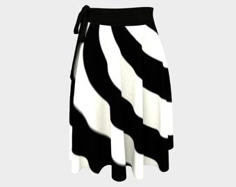 Black White Wrap Skirt