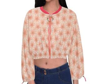 Women's Chiffon Cropped Jacket Peach Flower