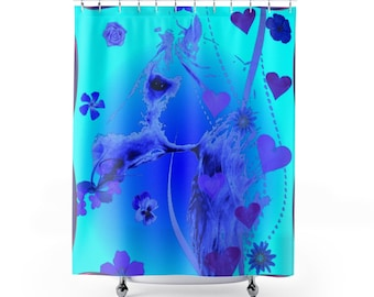 Shower Curtains Blue Horse