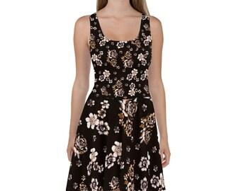 Skater Dress Dark Floral