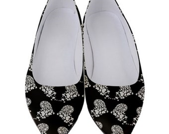 Women's Low Heel Shoes White hearts