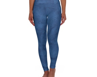 High Waisted Yoga Leggings Blue Wash