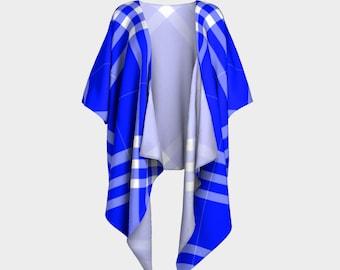 Ocean Blue Plaid Draped Kimono