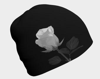 Beanie White Rose